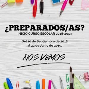 El próximo día 10 de septiembre se inicia al curso 2018-19.